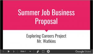 Summer Job Business Proposal